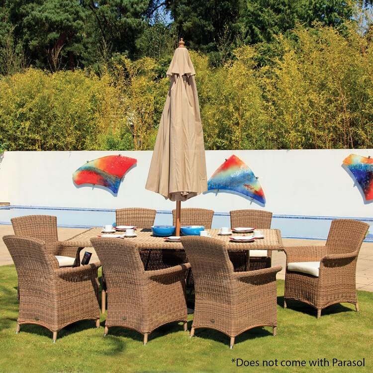 Cozy Bay Panama Rattan 8 Seat Rectangular Dining Set