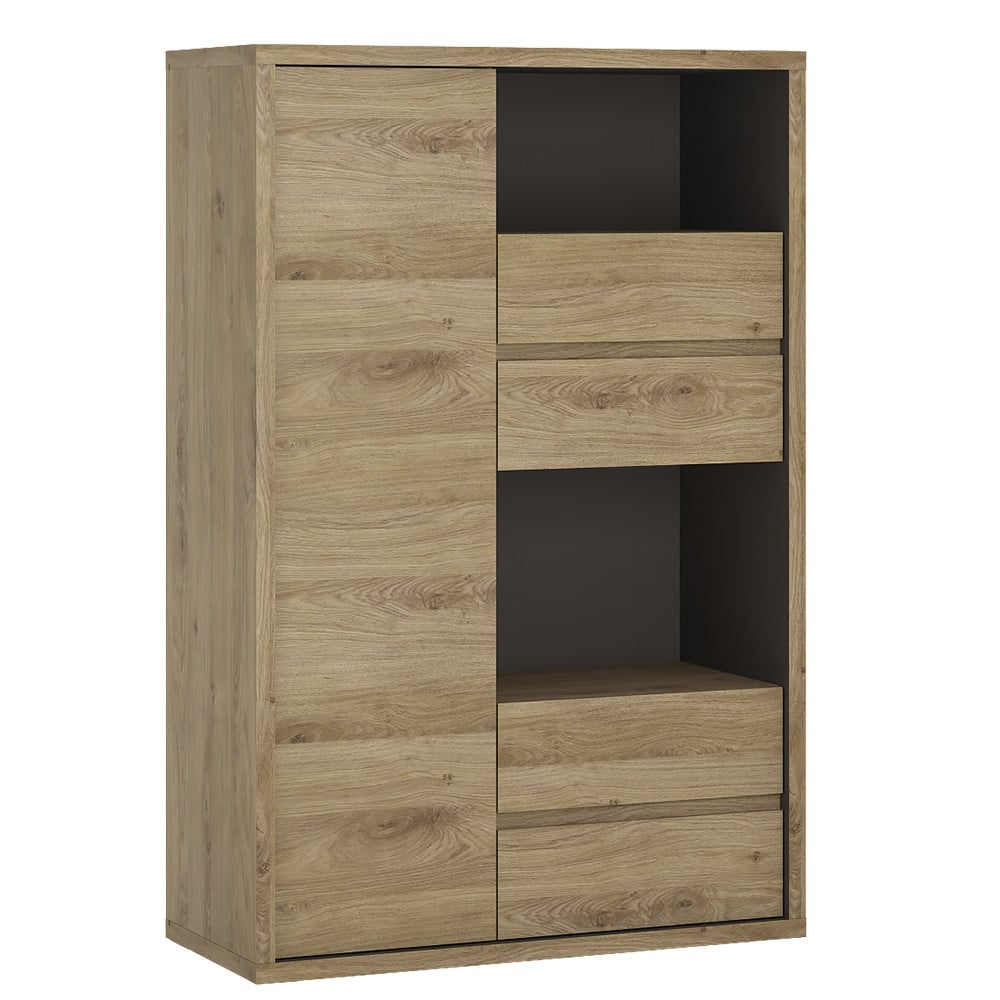 Shetland 1 Door 4 Drawer Display Cabinet Side