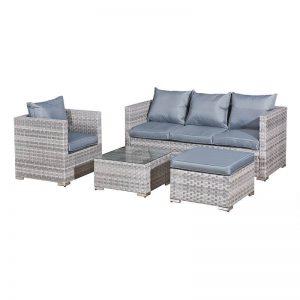 Acorn Rattan 5 Seat Lounge Sofa Set Dove Grey